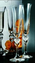 Pair of Sweetheart Champagne Flutes .