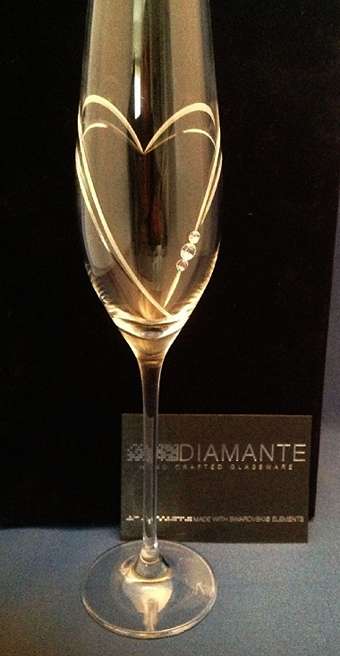 diamante champagne flute glass with swarovski crystals and. Black Bedroom Furniture Sets. Home Design Ideas