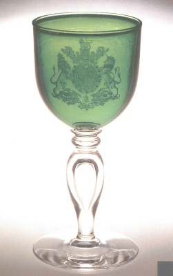 Crest goblet hand engraved by Peter Russell for No. 10 Downing Street