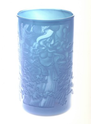 Enchanted Forest vase hand engraved by Peter Russell