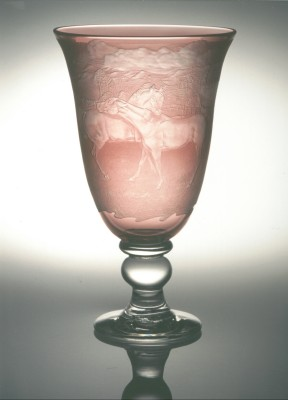 Horses goblet hand engraved by Peter Russell
